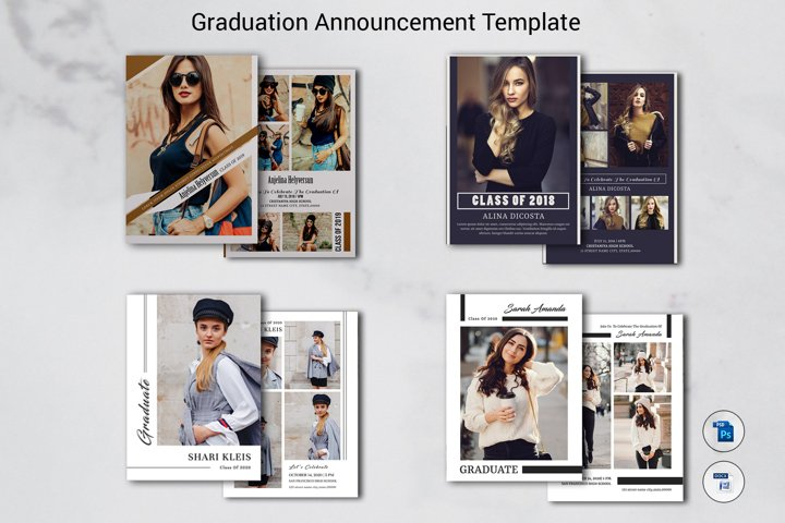 Graduation Announcement Bundle, Ms word and Photoshop