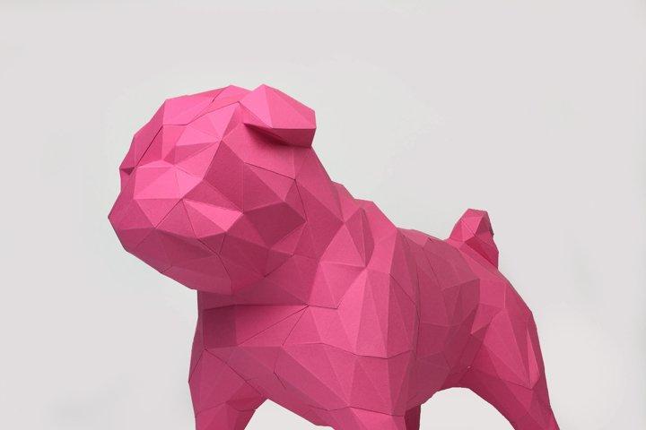 Pug Dog Papercraft, Paper Pug, Dog Statue, Puppy Pug, Paper Animals, Papertoy, Home Decor, Pug Dog, 3D papercraft model, lowpoly DIY, hobby