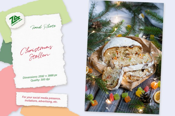 Christmas Stollen with candied fruit. New Year photo