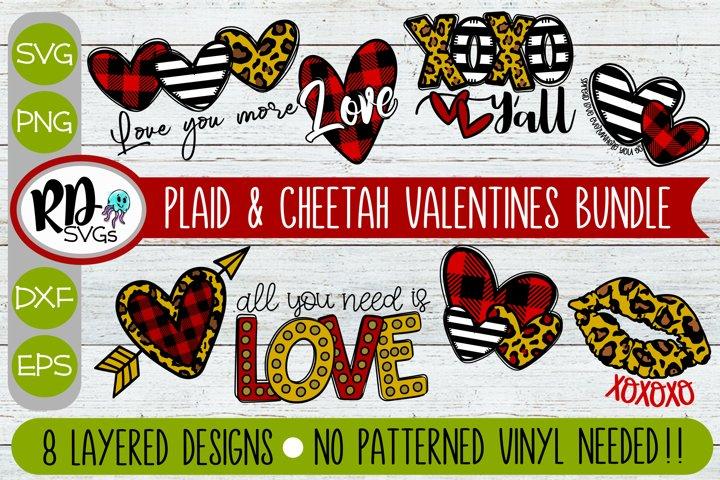 Plaid & Cheetah Valentines Bundle - Cricut Layered SVG Files