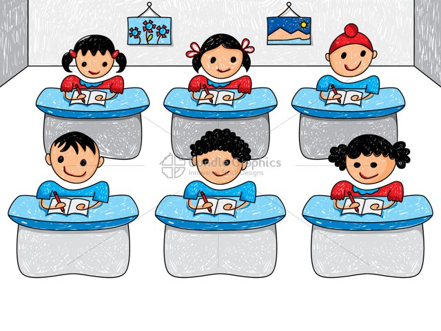 Kids Classroom Graphical Illustration
