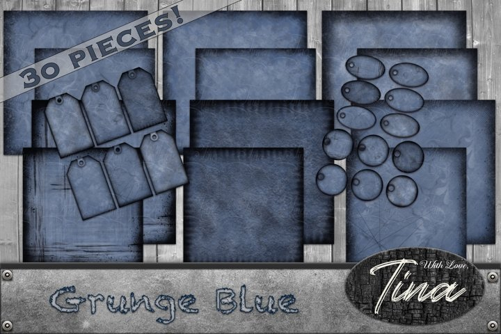 30pc Grunge Blue Jean Collection 8x8 12x12 Tags