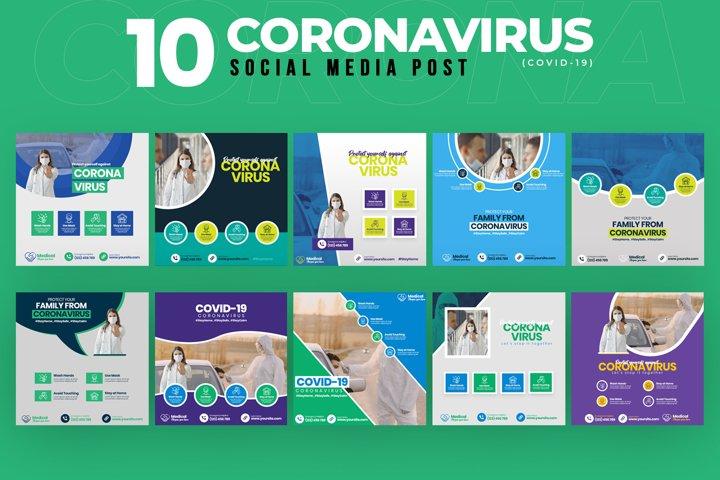 Covid-19 & Coronavirus 10 Social Media Post Template