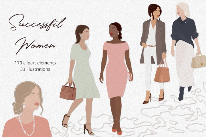 Successful Women Illustration Set