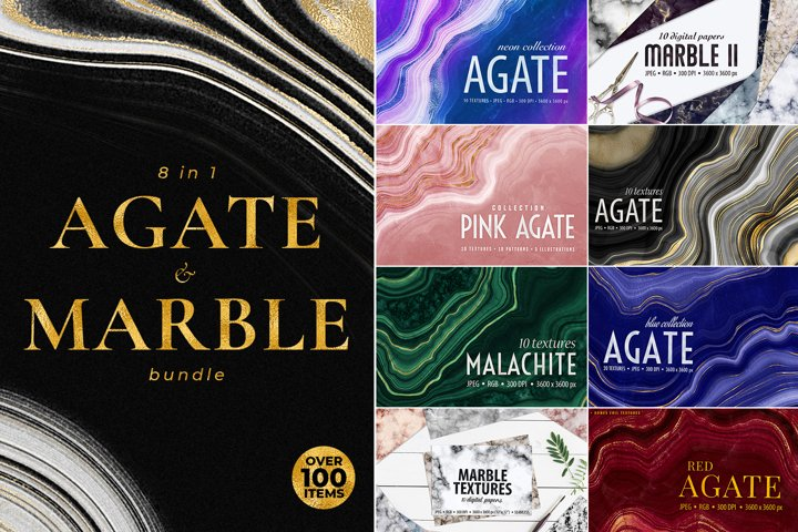 Agate, Marble and Gold Textures Bundle