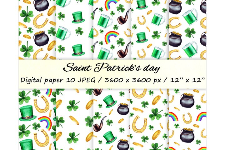 Watercolor Saint Patrick day digital paper. Seamless pattern