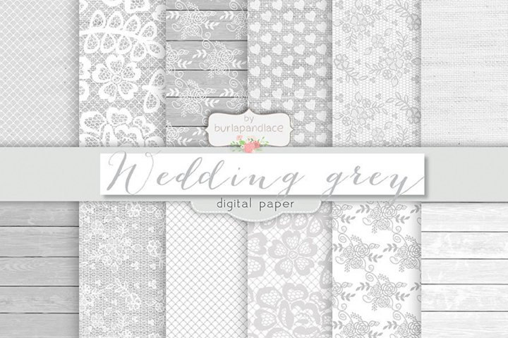 Grey wedding digital paper pack