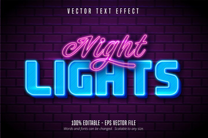 Night lights text, neon style editable text effect