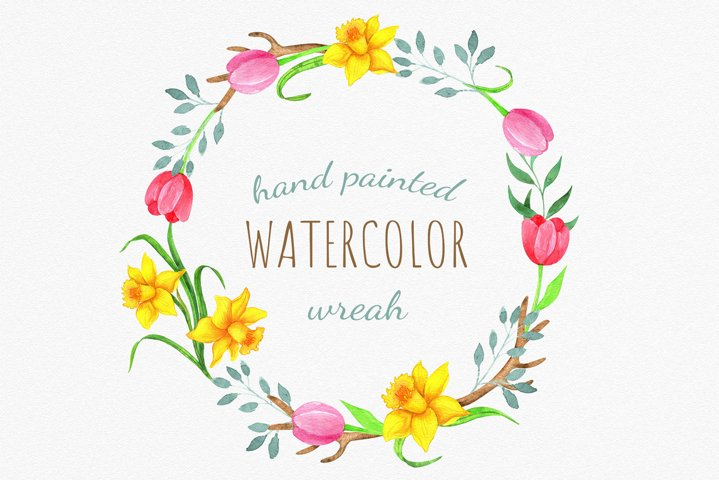 Watercolor Easter tulips and daffodils wreath. Spring flower