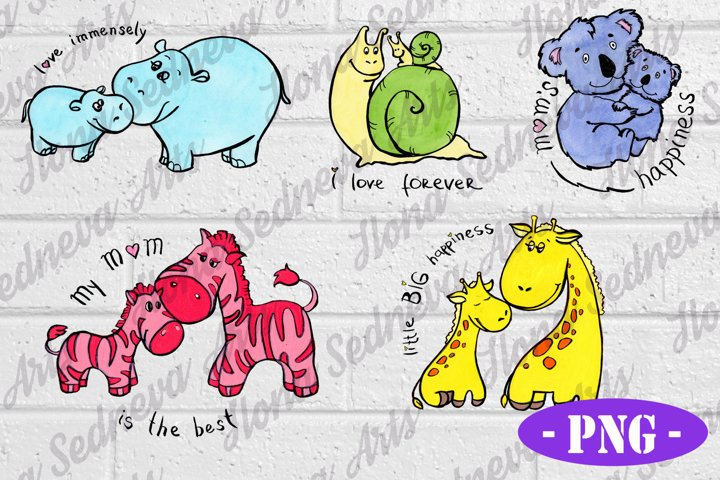 SET of 5 Baby Animals for Sublimation PNG