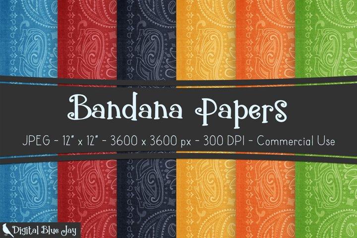 Digital Scrapbook Paper Backgrounds - Bandana