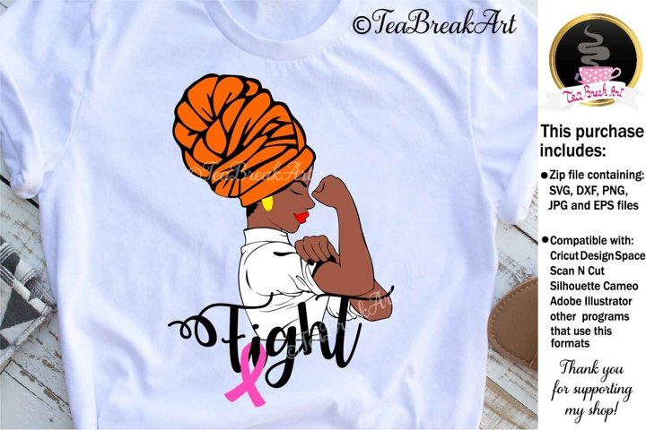 Strong Black Woman with Ribbon Svg Cutting files 1210