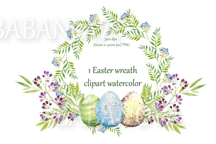 Easter floral wreath with flowers, branches and eggs