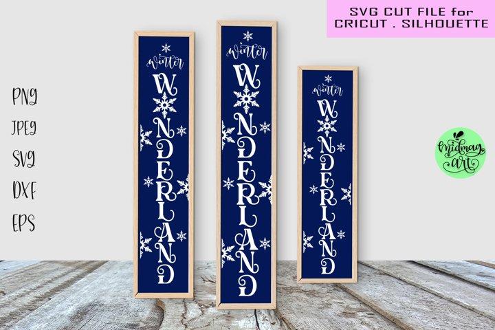 Winter wonderland vertical sign svg, winter porch sign svg