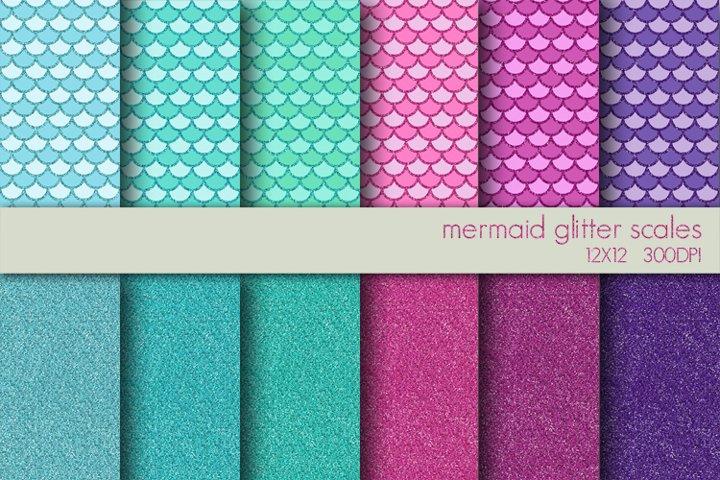 Mermaid Glitter Digital Paper Pack