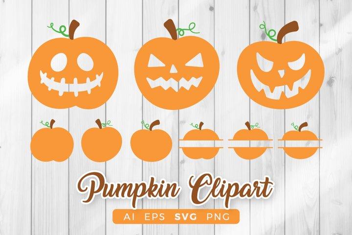 Pumpkin SVG - Halloween Clipart Set
