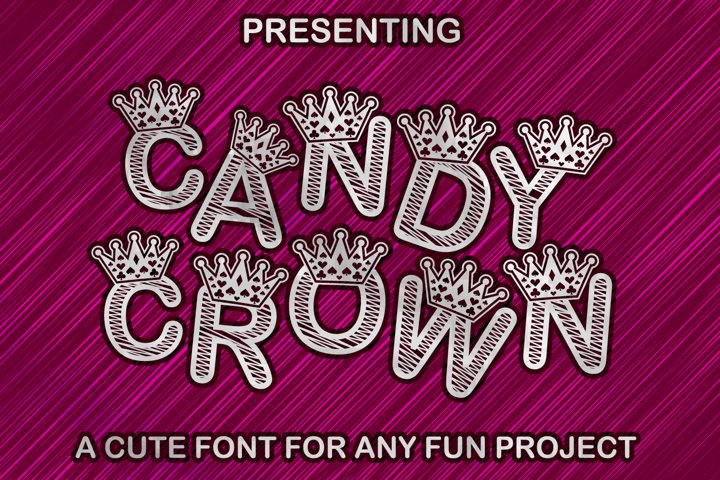 Candy Crown Cute Paper cut Style Font