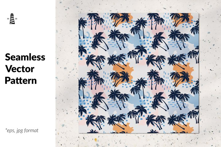 Summer palm trees seamless pattern