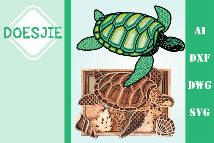 Multi layer mandala sea turtle ocean