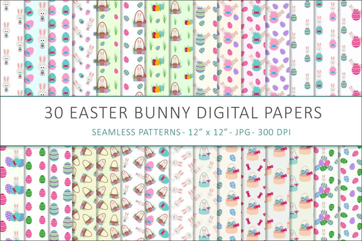 Easter Bunny digital papers - 30 Seamless Designs