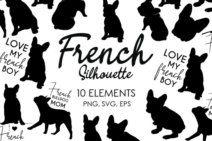 Frenchie, Dog Svg, Dog Silhouette, Dog Bundle, Dog Breeds