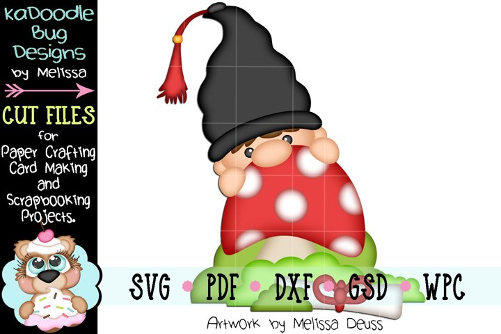 Graduation Mushroom Gnome Cut File - SVG PDF DXF GSD WPC