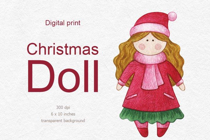 Christmas santa girl clipart, Christmas Tilda doll
