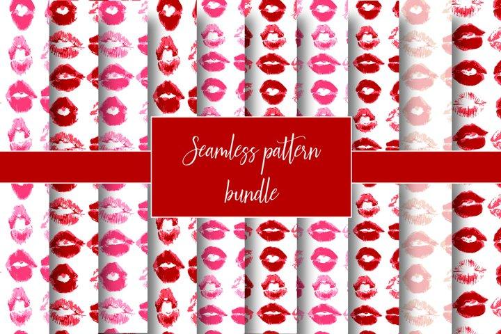 Seamless pattern. Lips, kiss, lipstick