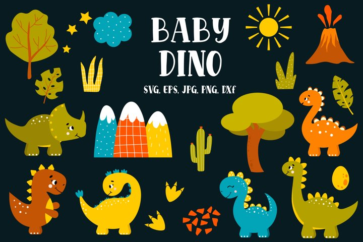 Dinosaur Clipart SVG, PNG, Dinosaur digital paper pack, Cute