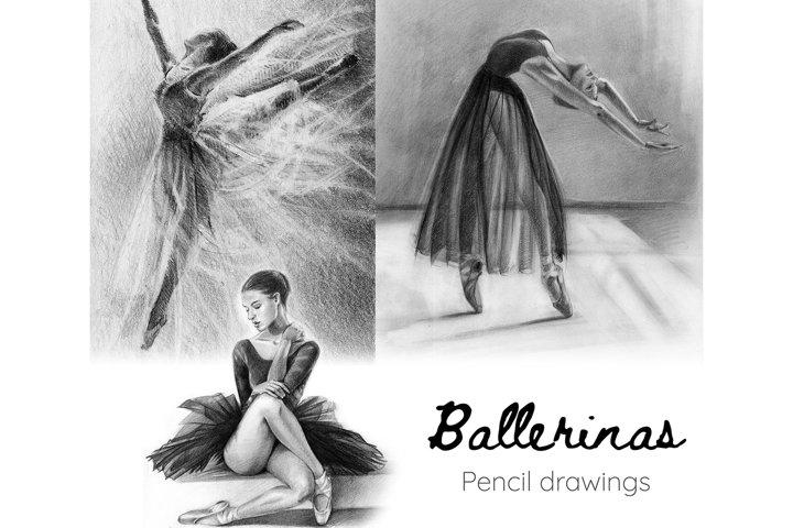 3 Ballerinas Print Black and White Ballet dancer drawing