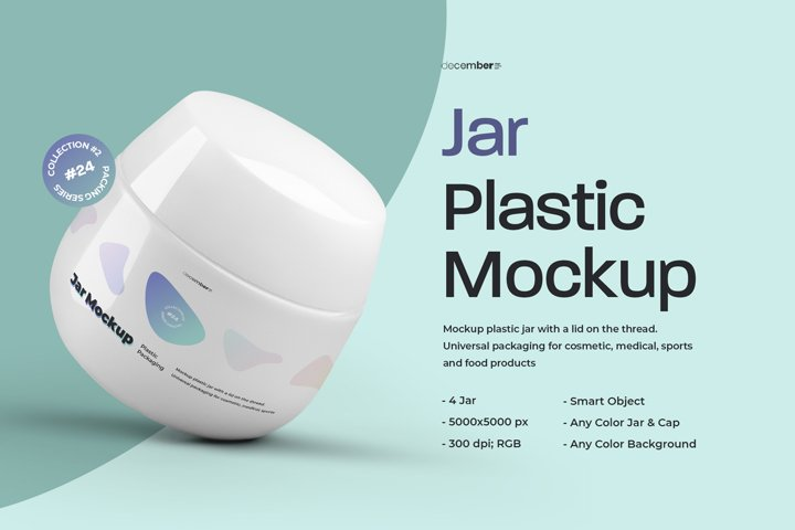 4 Mockups Plastic Jar For Cosmetic and Medical Products