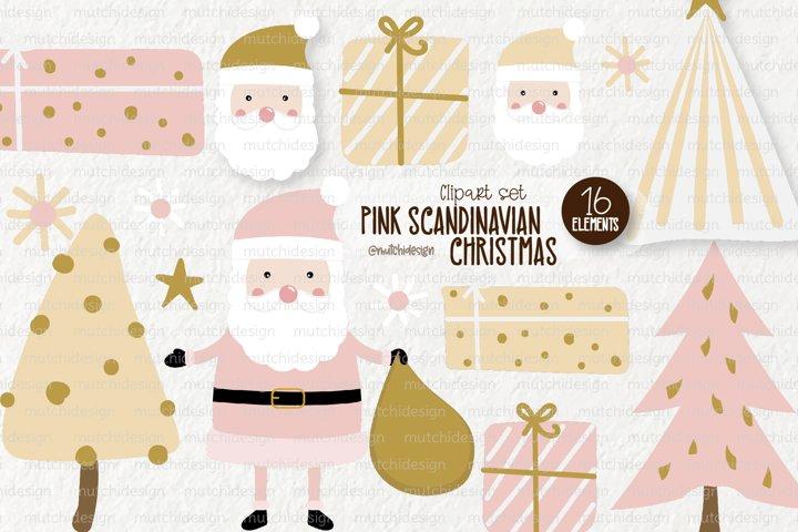 Pink Scandinavian Christmas Clipart Set
