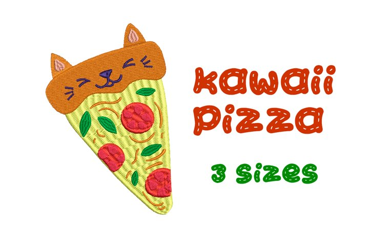 Kawaii Pizza - Machine Embroidery Design, 3 sizes