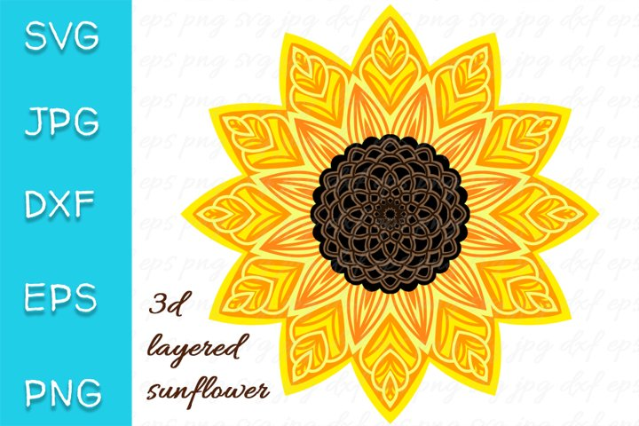 3D Layered Sunflower SVG. Mandala Cut file. 7 layers