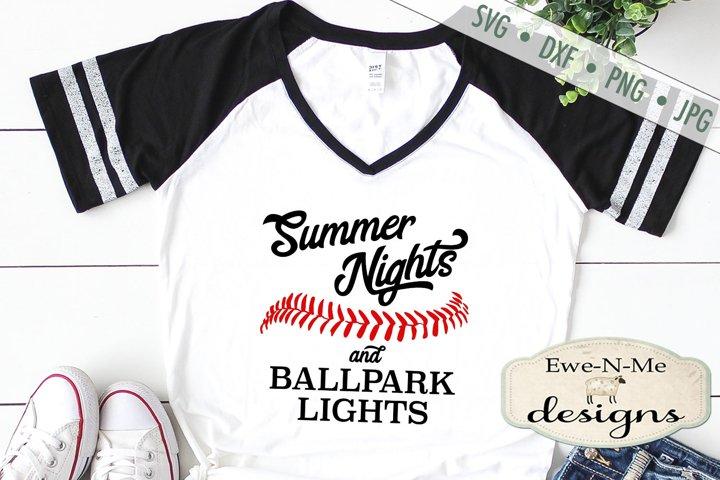 Summer Nights Ballpark Lights Baseball Softball SVG DXF File