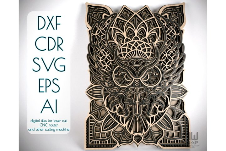 M43 - OWL Mandala DXF, Layered Owl Mandala for laser cut