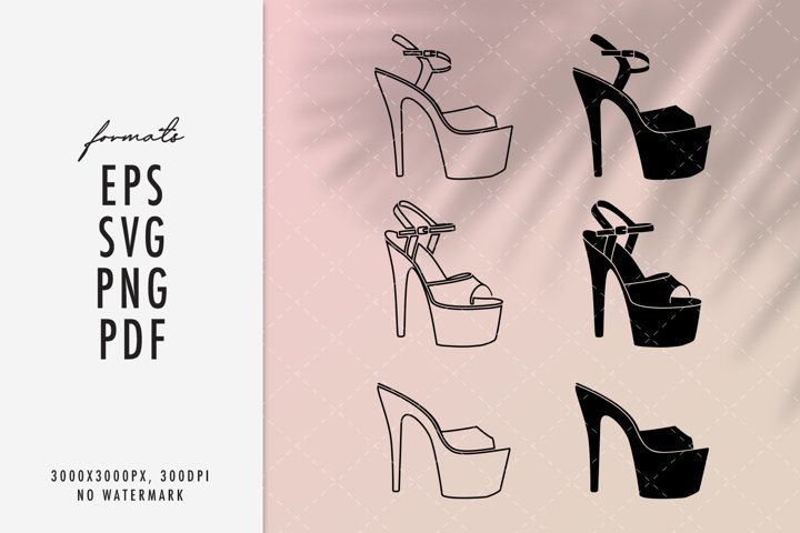 Pole dance high heels shoes SVG silhouettes clipart bundle