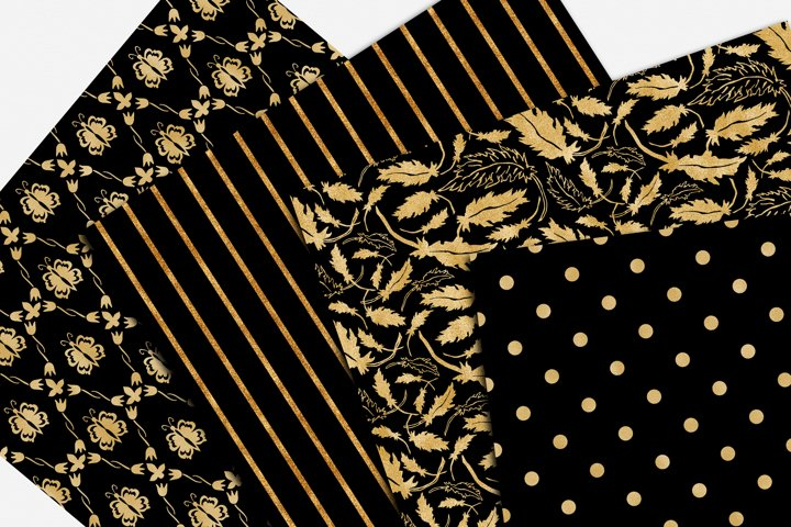 Black and Gold Seamless Papers - Damask & Geometric Patterns example 3