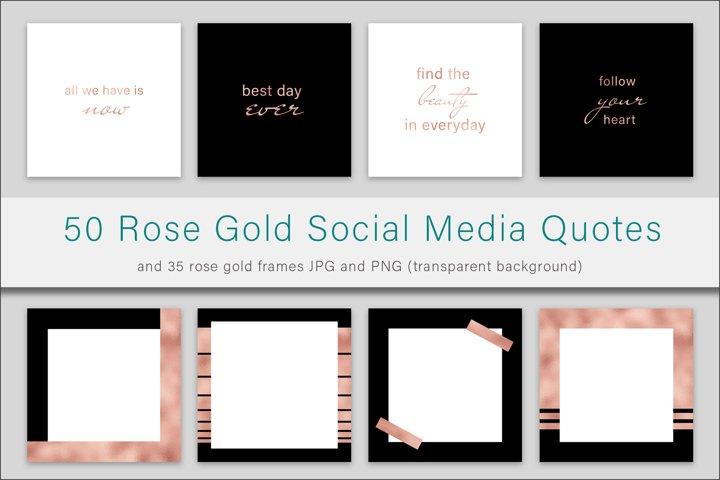 Rose Gold Quotes and Frames Instagram Bundle