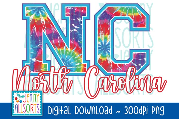 NC North Carolina Tie Dye Sublimation, US State Letters