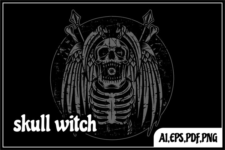 skull witch illustration