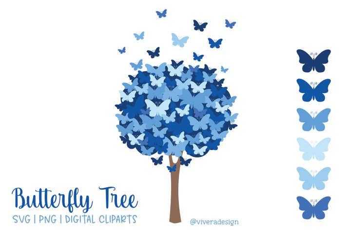 Butterfly Tree PNG SVG in Blue