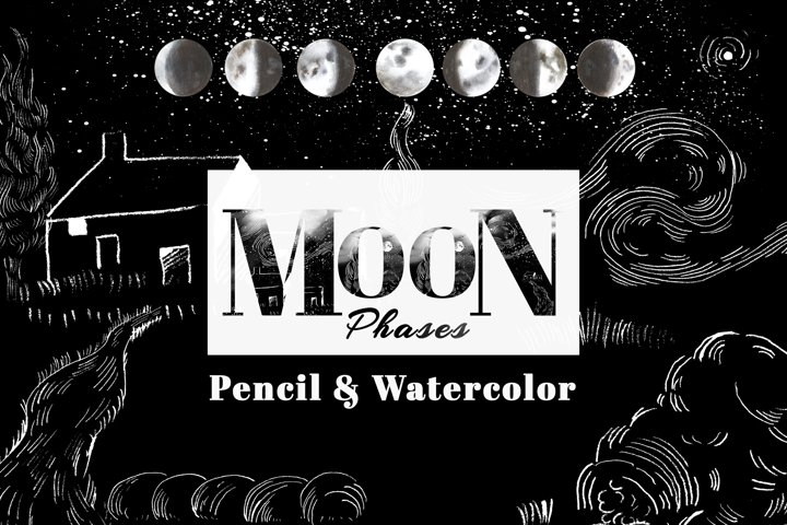 watercolor Moon phases with Farmhouse and trees clipart set