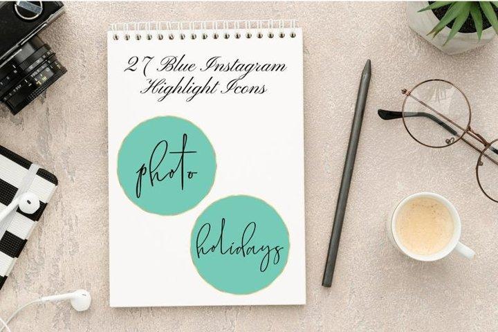 27 Blue Green Instagram Story Highlight, Instagram Elegant