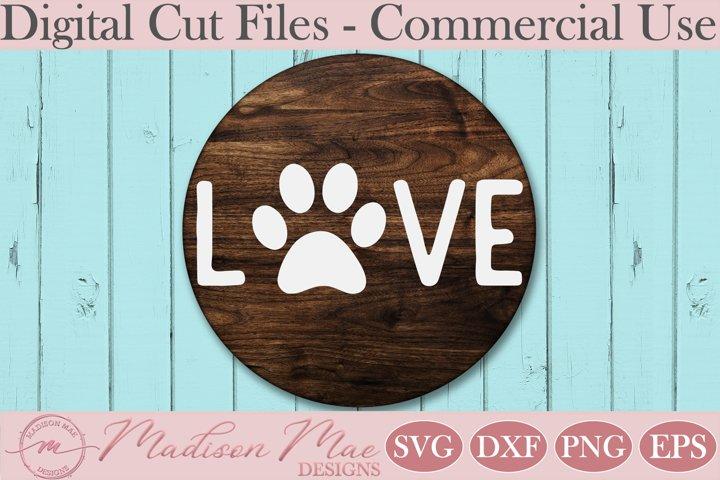Dog Paw SVG, LOVE