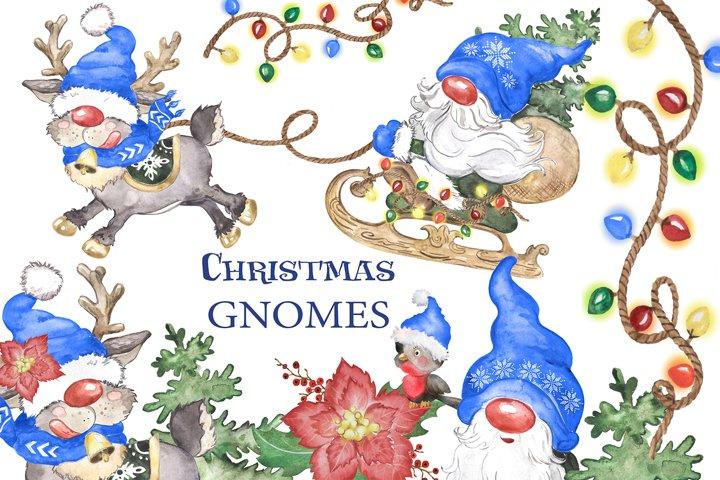 Christmas gnomes watercolor clipart scandinavian gnomes deer