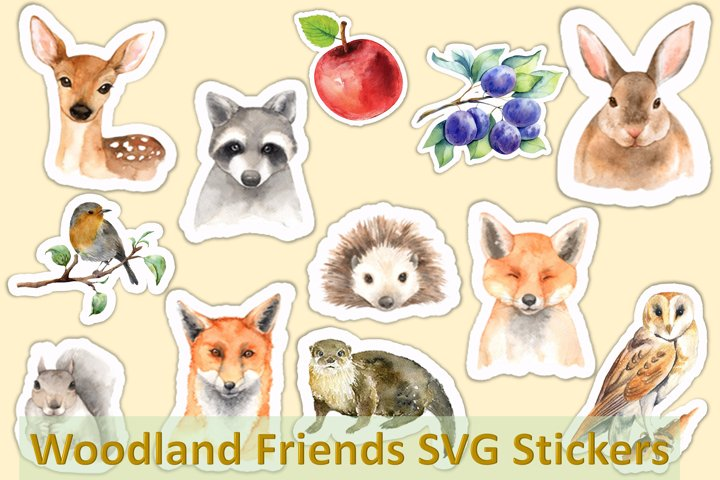 12 Woodland Friends Planner Stickers SVG and PNG