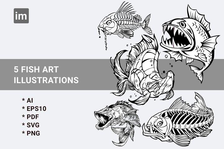 Fish art illustrations SVG Bundels