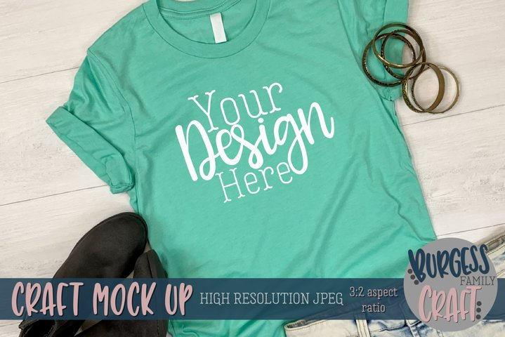 Summer teal shirt 3001 Craft mock up | High Res JPEG