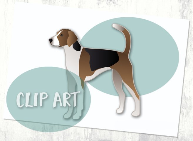Treeing Walker Coonhound Dog Breed Clip Art